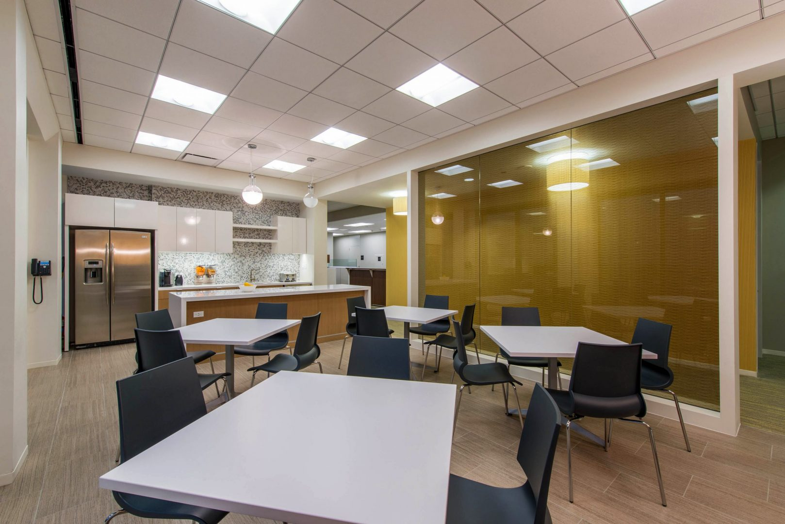 Corporate Law Interior Design Heard Robins Cloud and Black Breakroom Dining