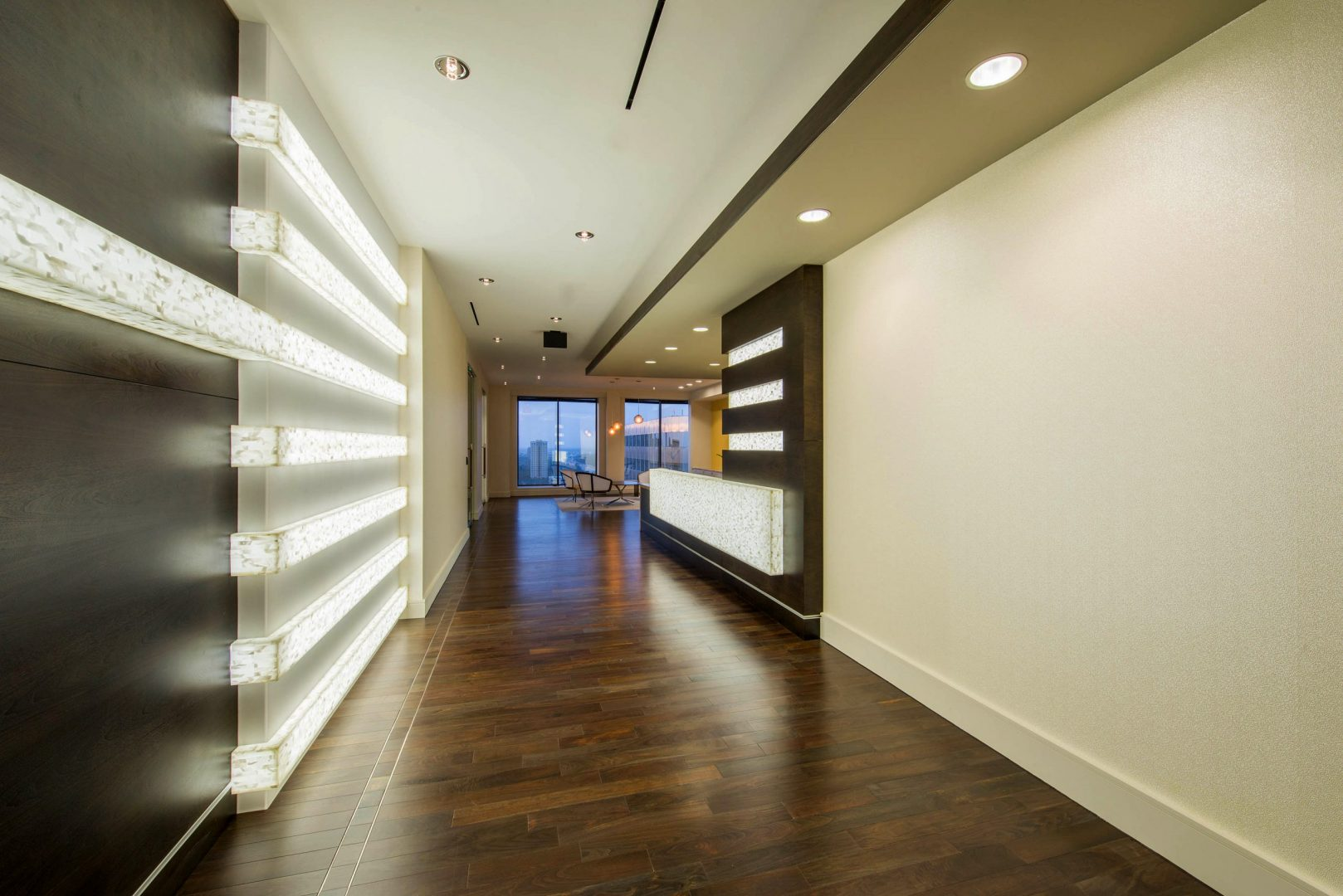 Corporate Law Interior Design Heard Robins Cloud and Black Corridor Linear Lighting Modern Bright