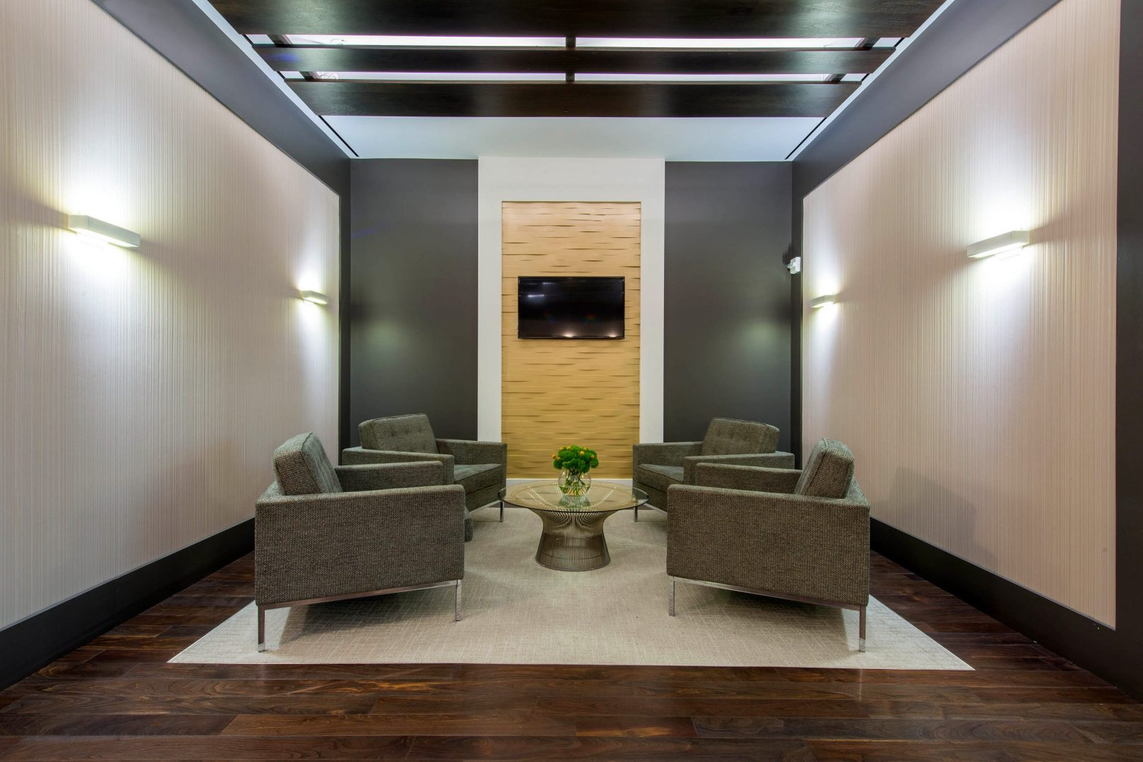 Corporate Law Interior Design Heard Robins Cloud and Black Masculine Seating Area