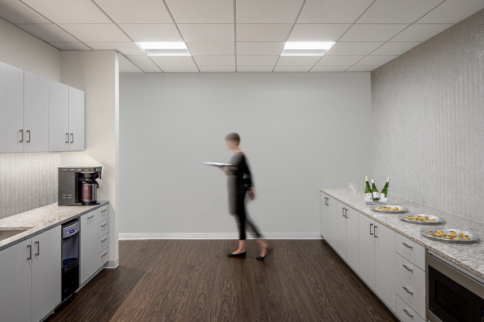 Corporate Interior Design White Breakroom Wood Flooring