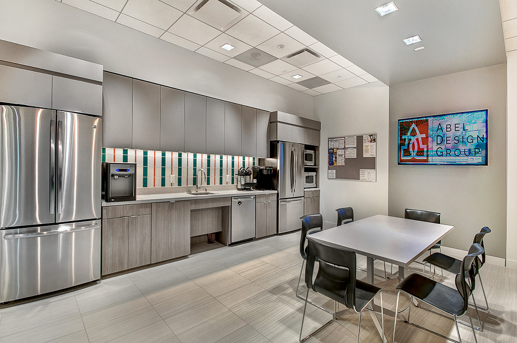 Corporate Interior Design IPT Global Houston Light Modern Breakroom Striped Backsplash