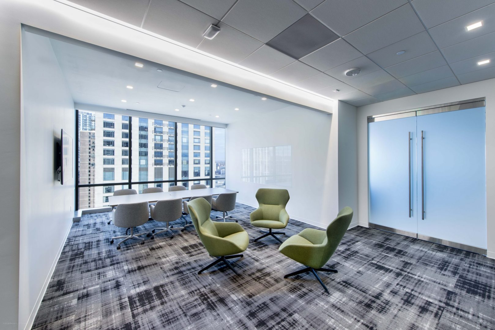 Investment Management Company Denver Corporate Interior Design Meeting Room Conference High End Ceiling Tiles Recessed Linear Lights