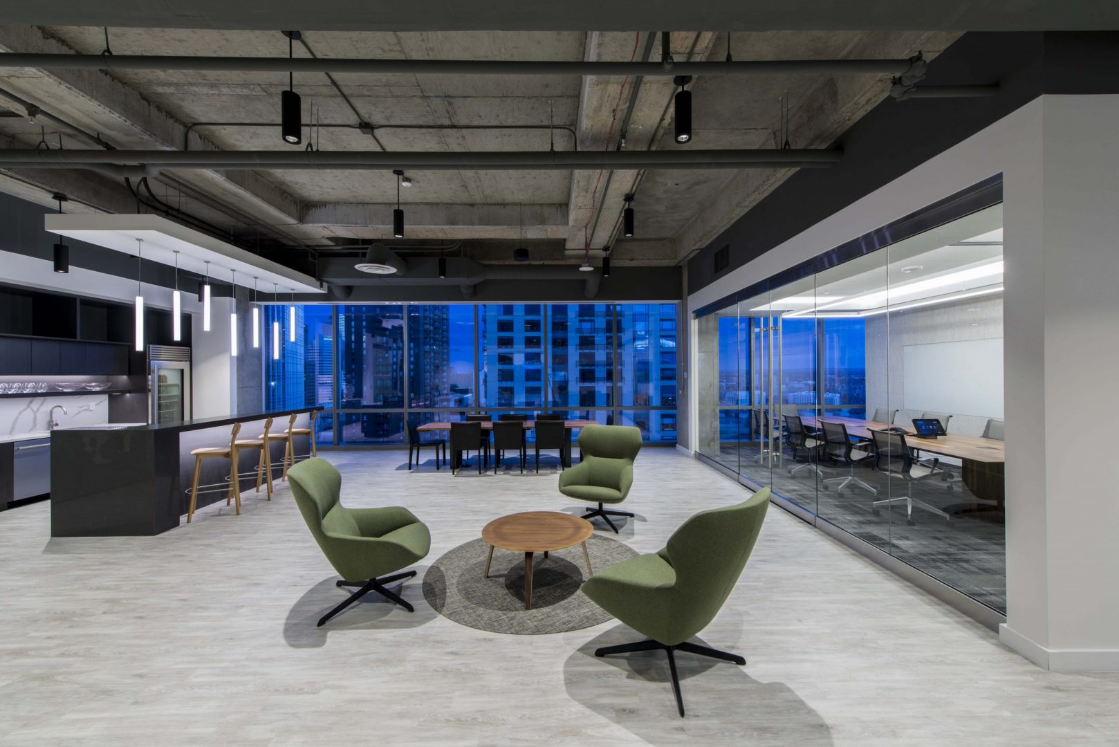 Investment Management Company Denver Corporate Interior Design Lobby Lounge