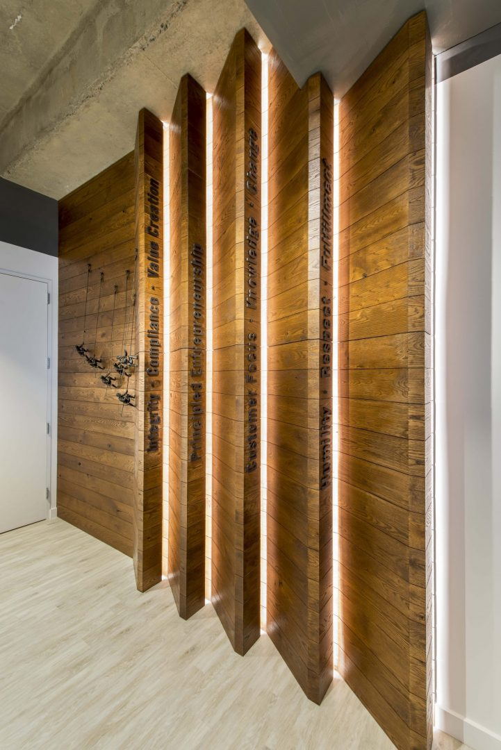 Investment Management Company Denver Corporate Interior Design Signage Vertical Linear Lights