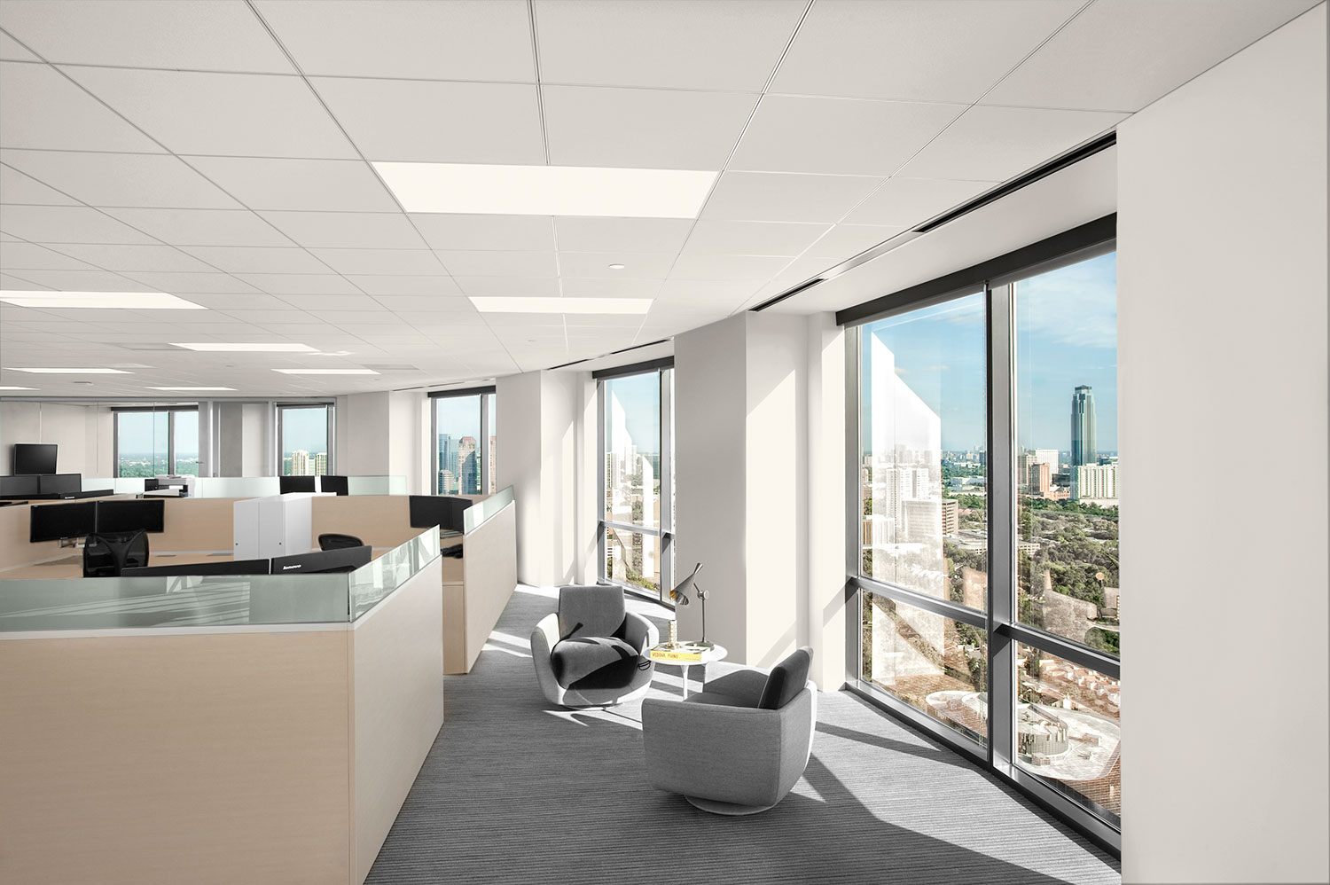 Corporate Interior Design JLT Houston Open Work Area Downtown Views Seating Window