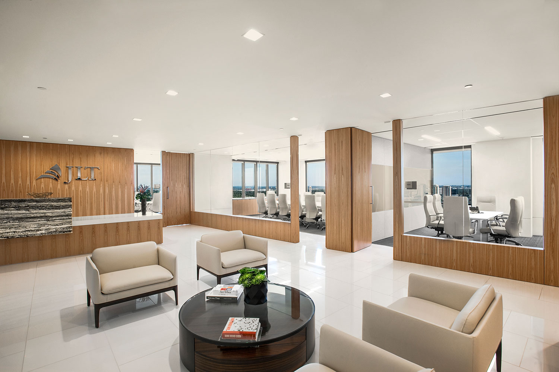 Corporate Interior Design JLT Houston Reception Entrance Lobby Entertainment Space