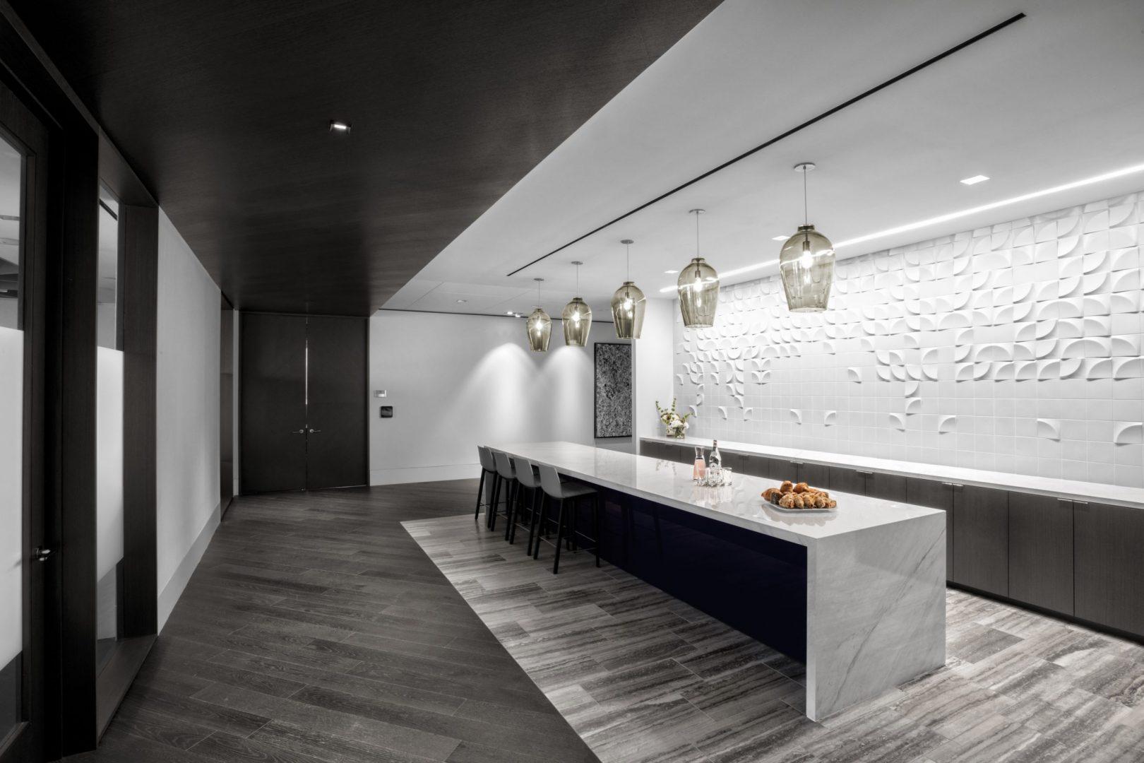 Corporate Interior Design Lockton Houston Breakroom Island White Backsplash