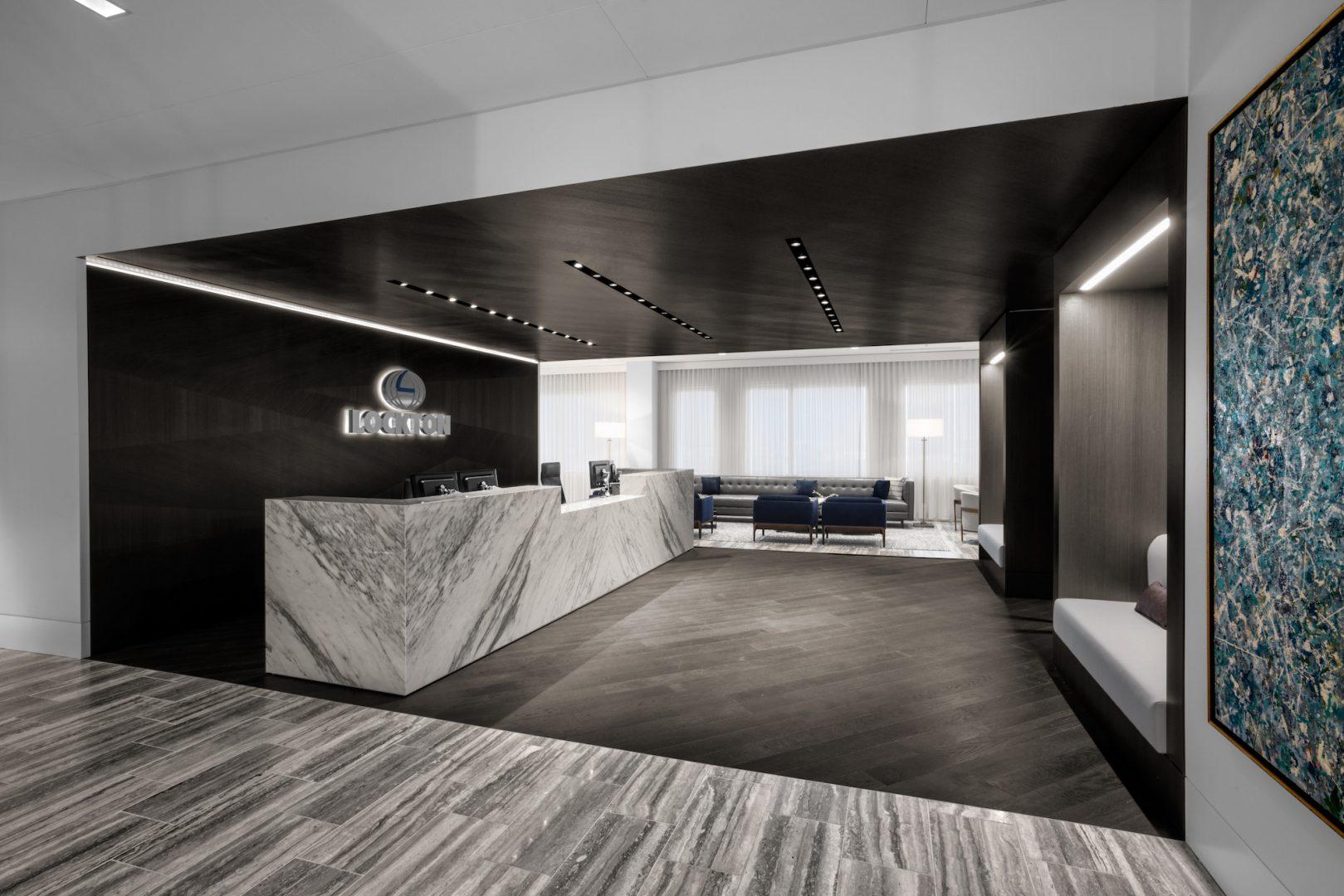 Corporate Interior Design Lockton Houston Reception Entrance Lobby Dark Wood Marble