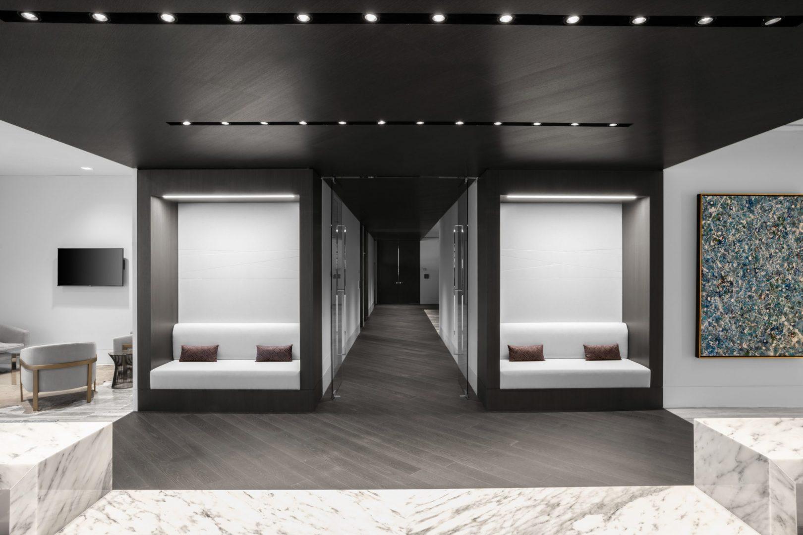 Corporate Interior Design Lockton Houston Reception Seating Booths