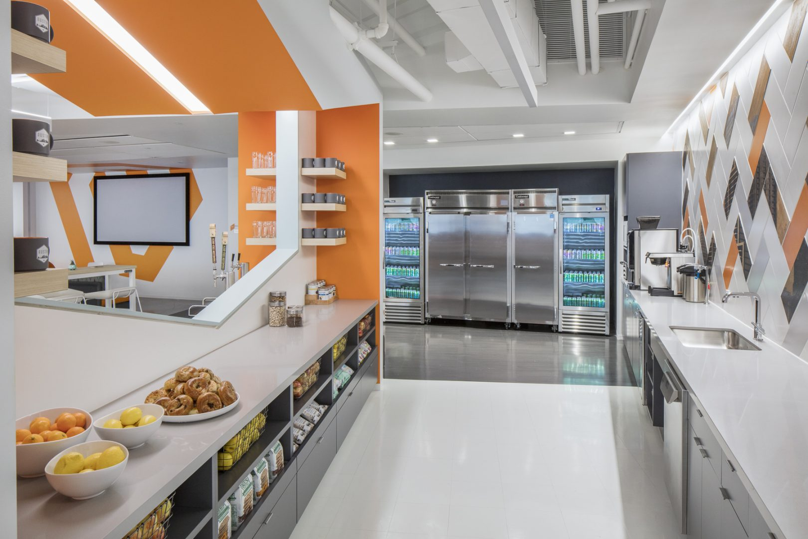 Corporate Technology Interior Design Magento Austin Breakroom Snack Bar Refrgerator Bank