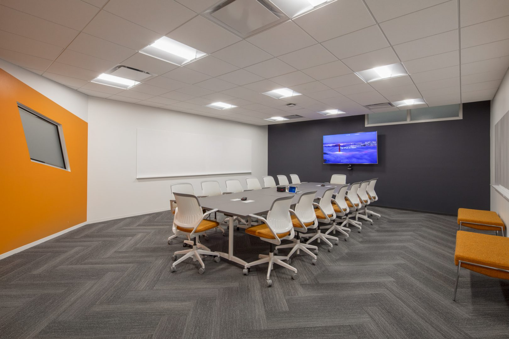 Corporate Technology Interior Design Magento Austin Conference Room Orange Gray