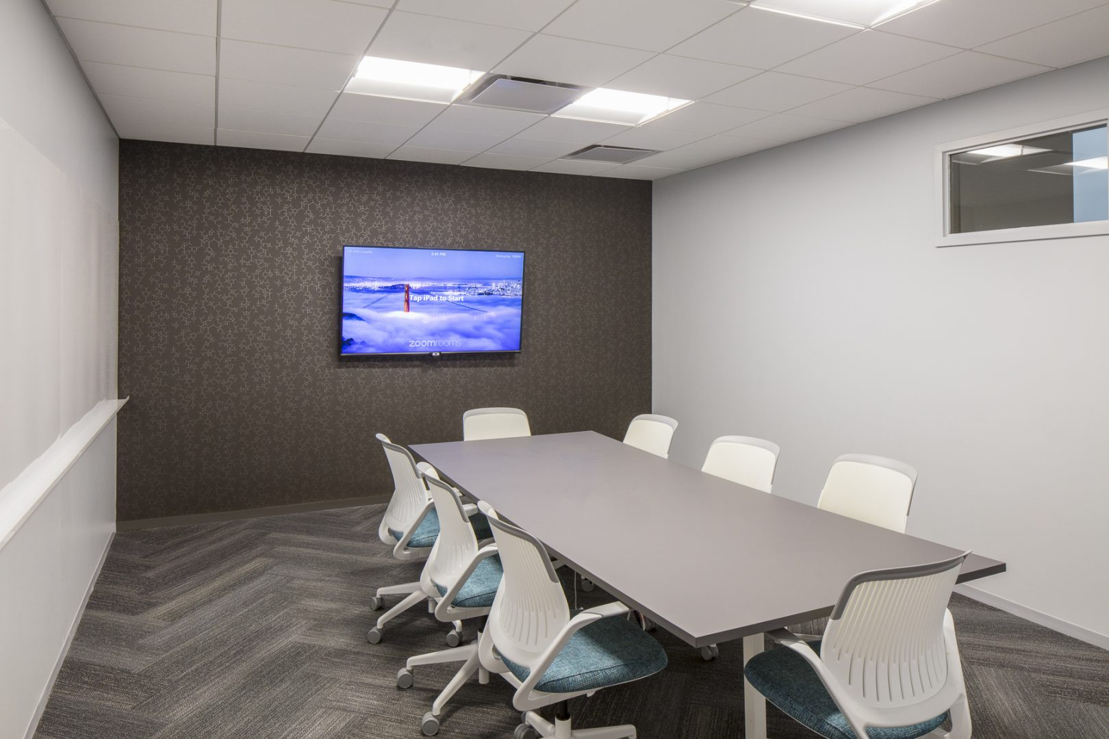 Corporate Technology Interior Design Magento Austin Small Meeting Room Chevron Floor Planks