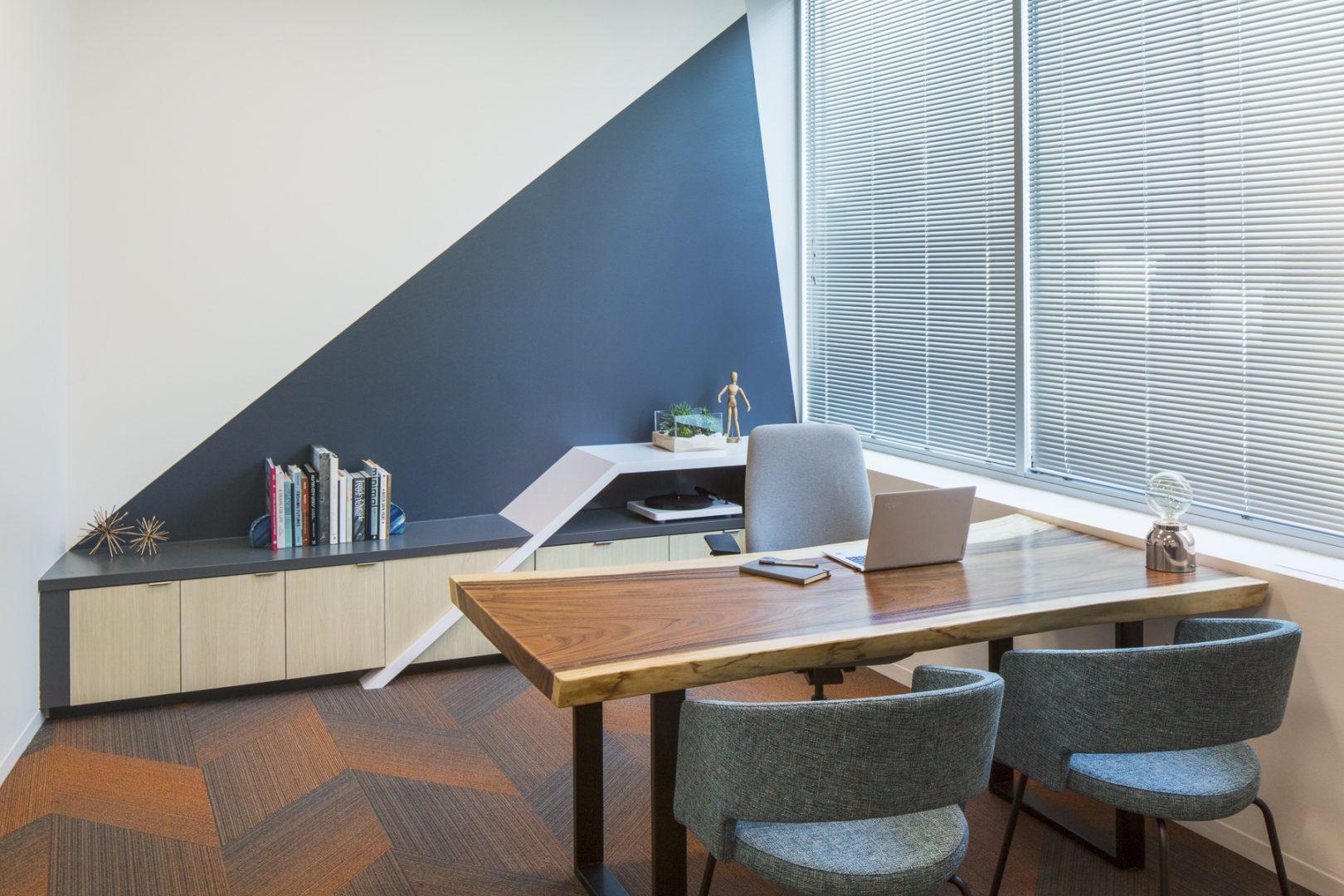 Corporate Technology Interior Design Magento Austin Private Office Live Edge Desk