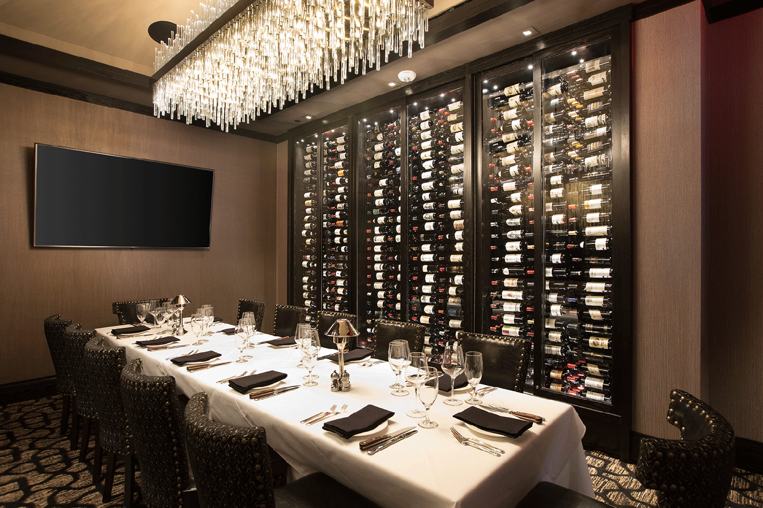 Restaurant Hospitality Interior Design Mastro's Houston Post Oak Private Dining Wine Display