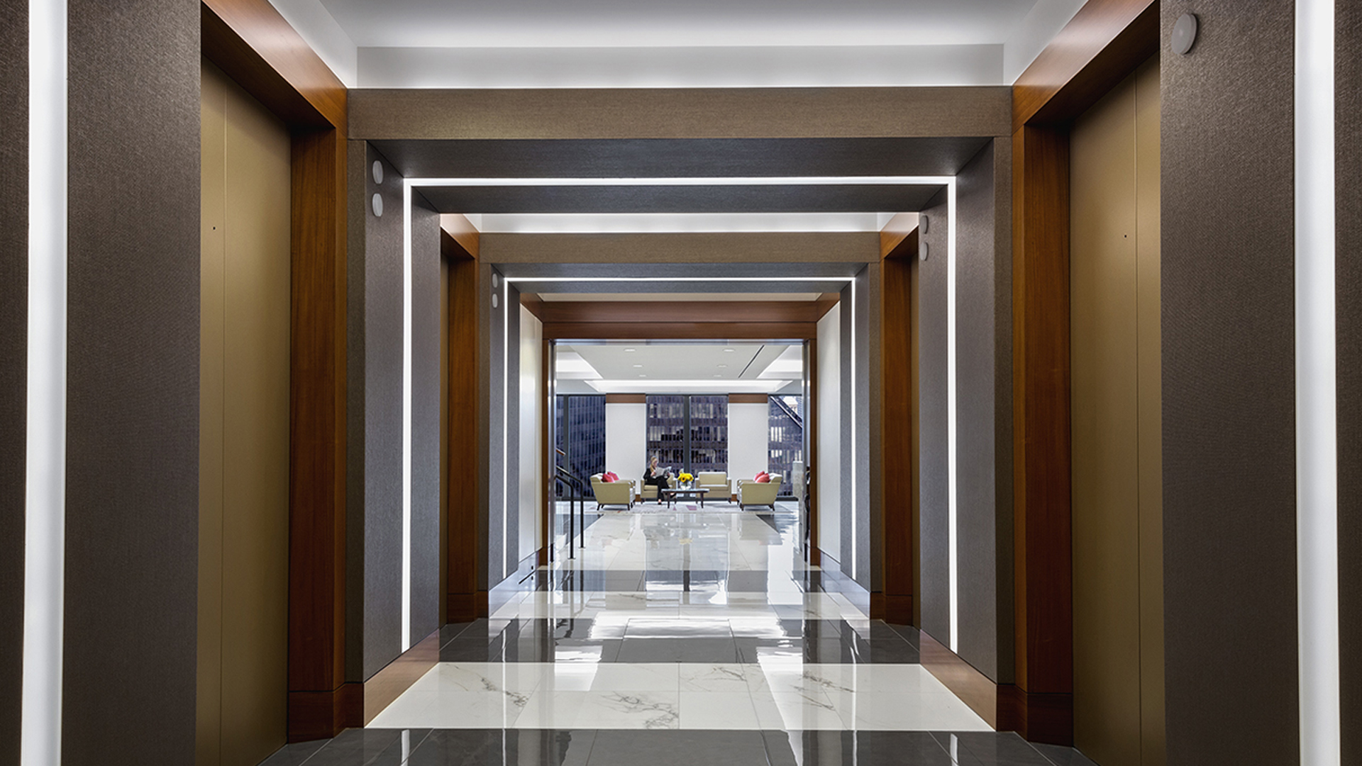 Corporate Law Interior Design Mayer Brown Houston Elevator lobby Entrance