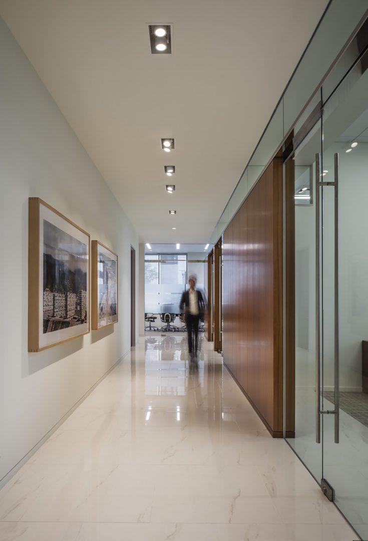 Financial Retail Interior Design Mercantil Commercebank Champions Louetta Corridor Glass and Wood Walls
