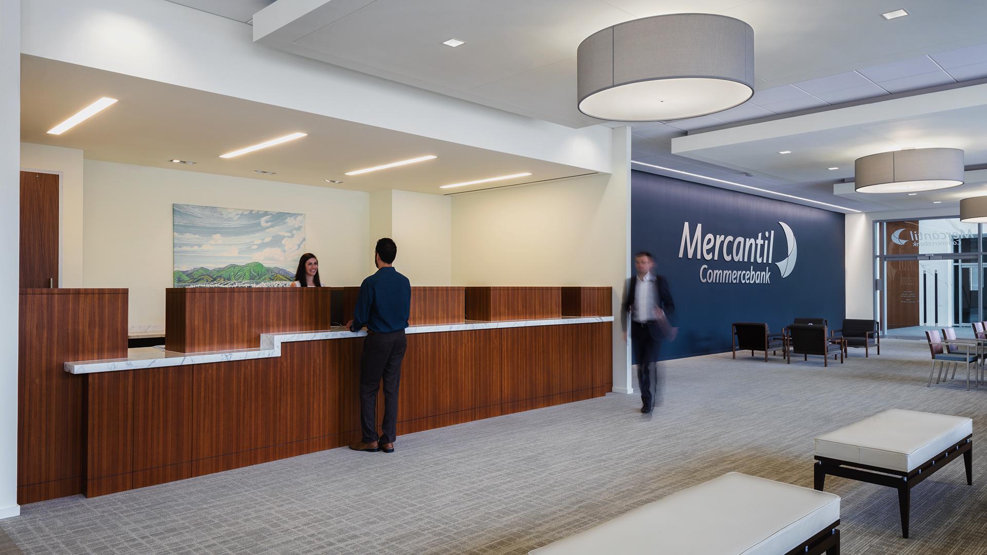 Financial Retail Interior Design Mercantil Commercebank Champions Louetta Transaction Counter