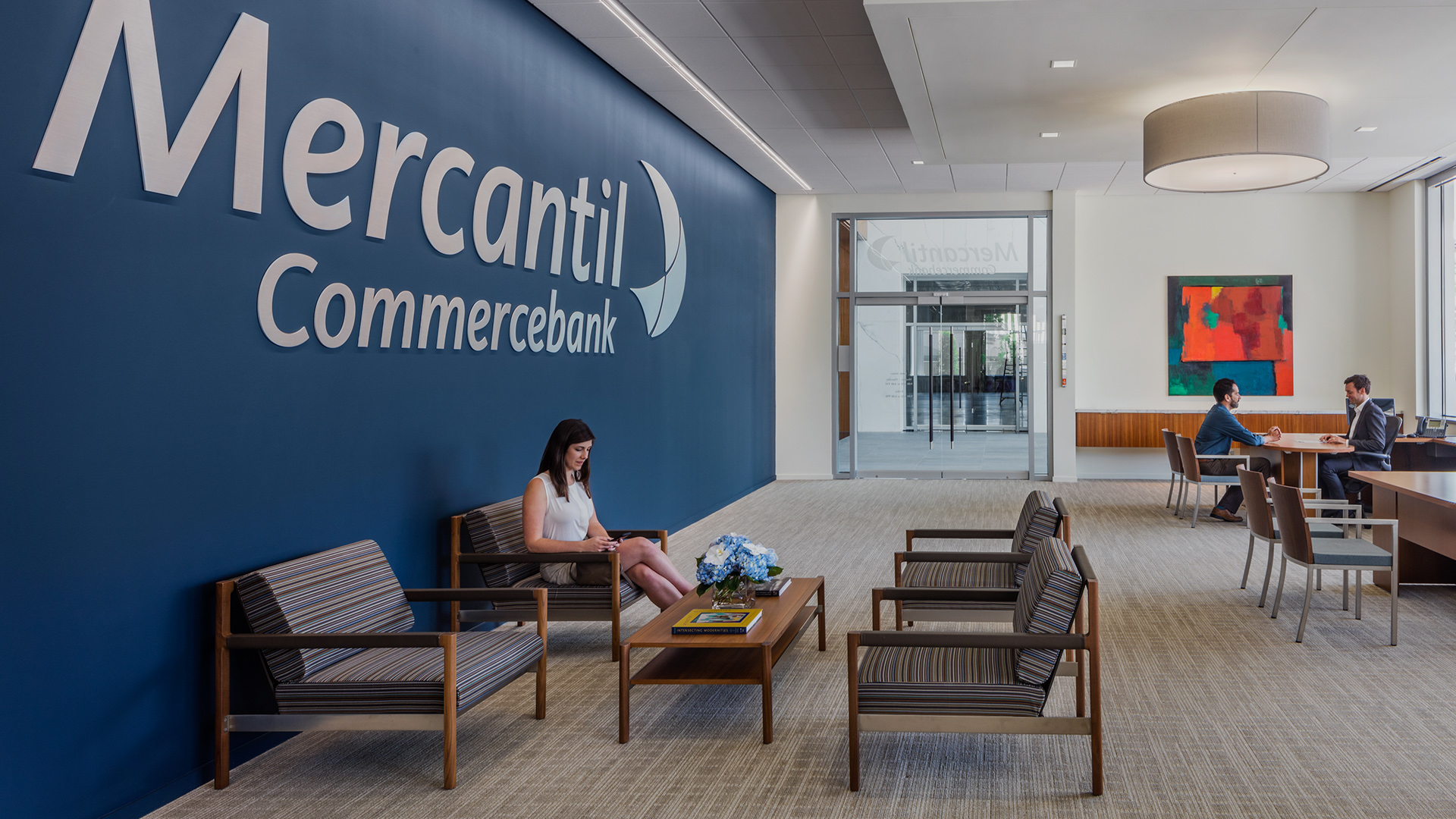 Financial Retail Interior Design Mercantil Commercebank Champions Louetta Consultation Meeting and Seating Area