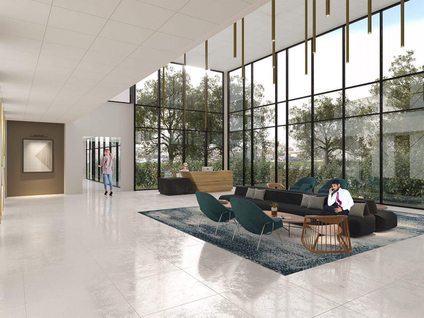 lobby renovation building repositioning Houston lobby seating area