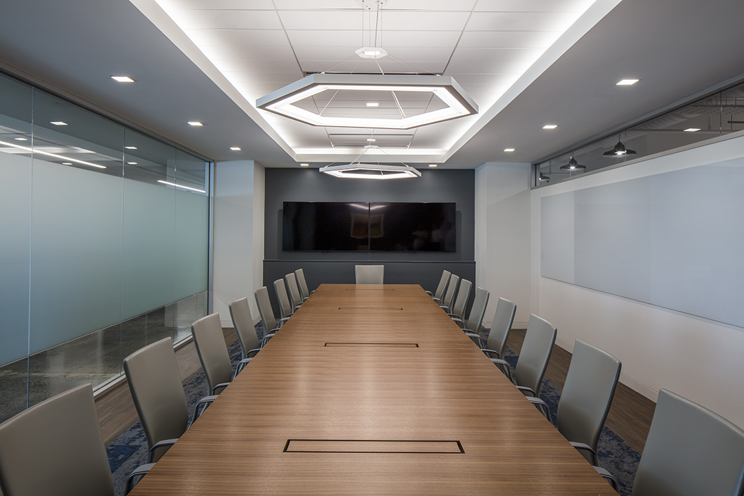 Corporate Interior Design Insurance Company Austin Conference Room Hexagon Pendants