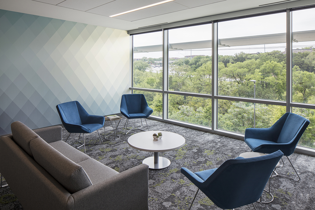Corporate Interior Design Insurance Company Austin Informal Meeting Area Seating View