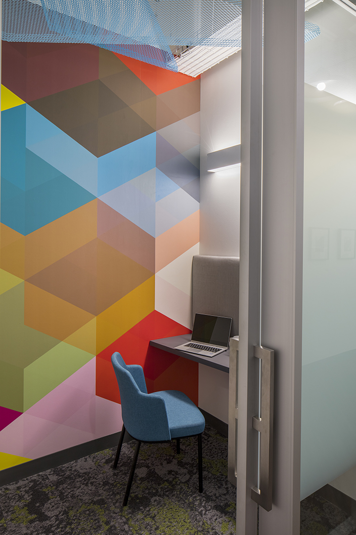 Corporate Interior Design Insurance Company Austin Private Phone Room Geometric Wall