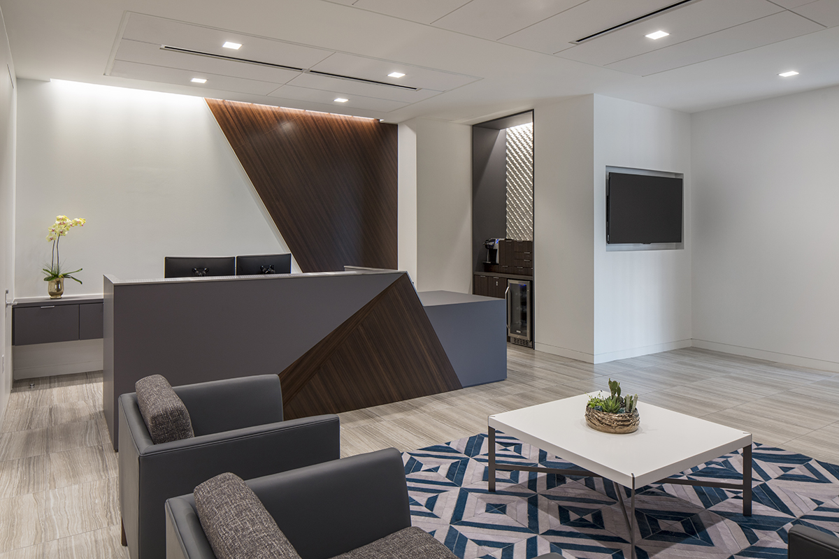 Corporate Interior Design Insurance Company Austin Reception Desk Angular Wood Planes