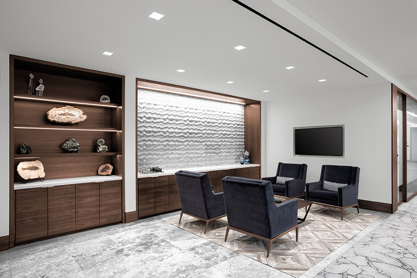 Corporate Interior Design Newfield Exploration Executive Floor Informal Seating Area Agate Display Wall