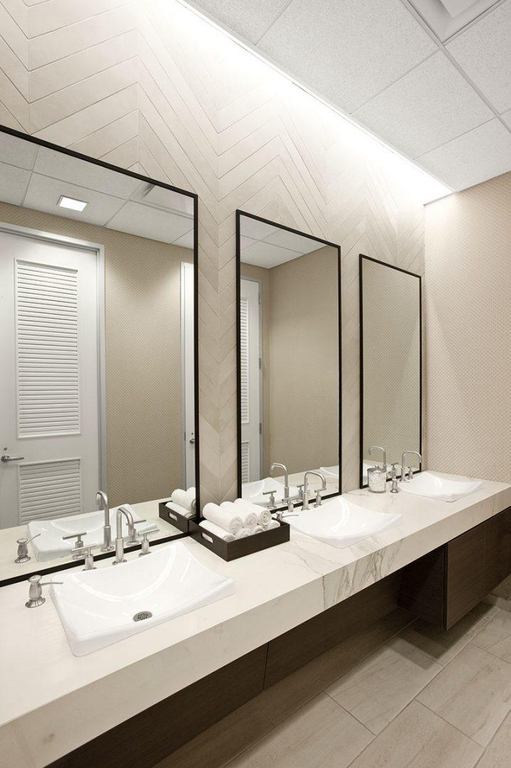 Corporate Interior Design Fitness Center Newfield Fitness Center Locker Room Basins Quartz Earthy Tones