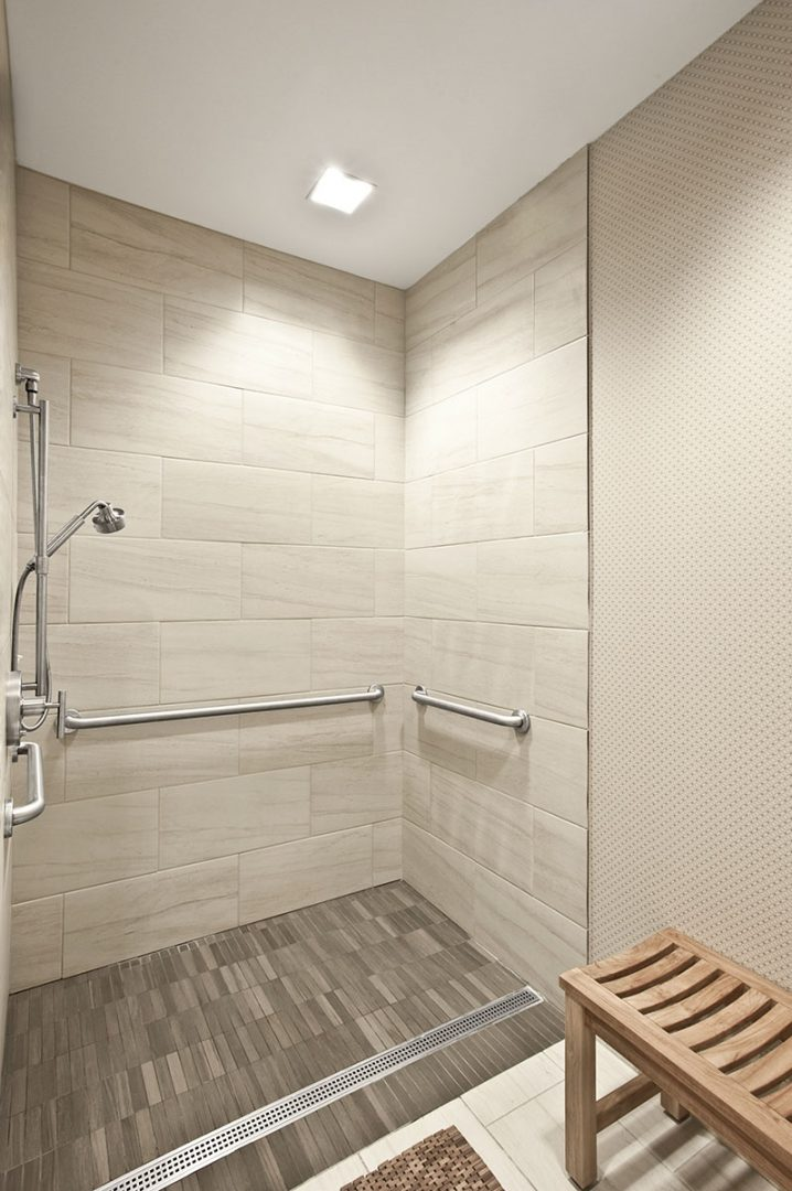 Corporate Interior Design Fitness Center Newfield Fitness Center Locker Room ADA Shower Curbless