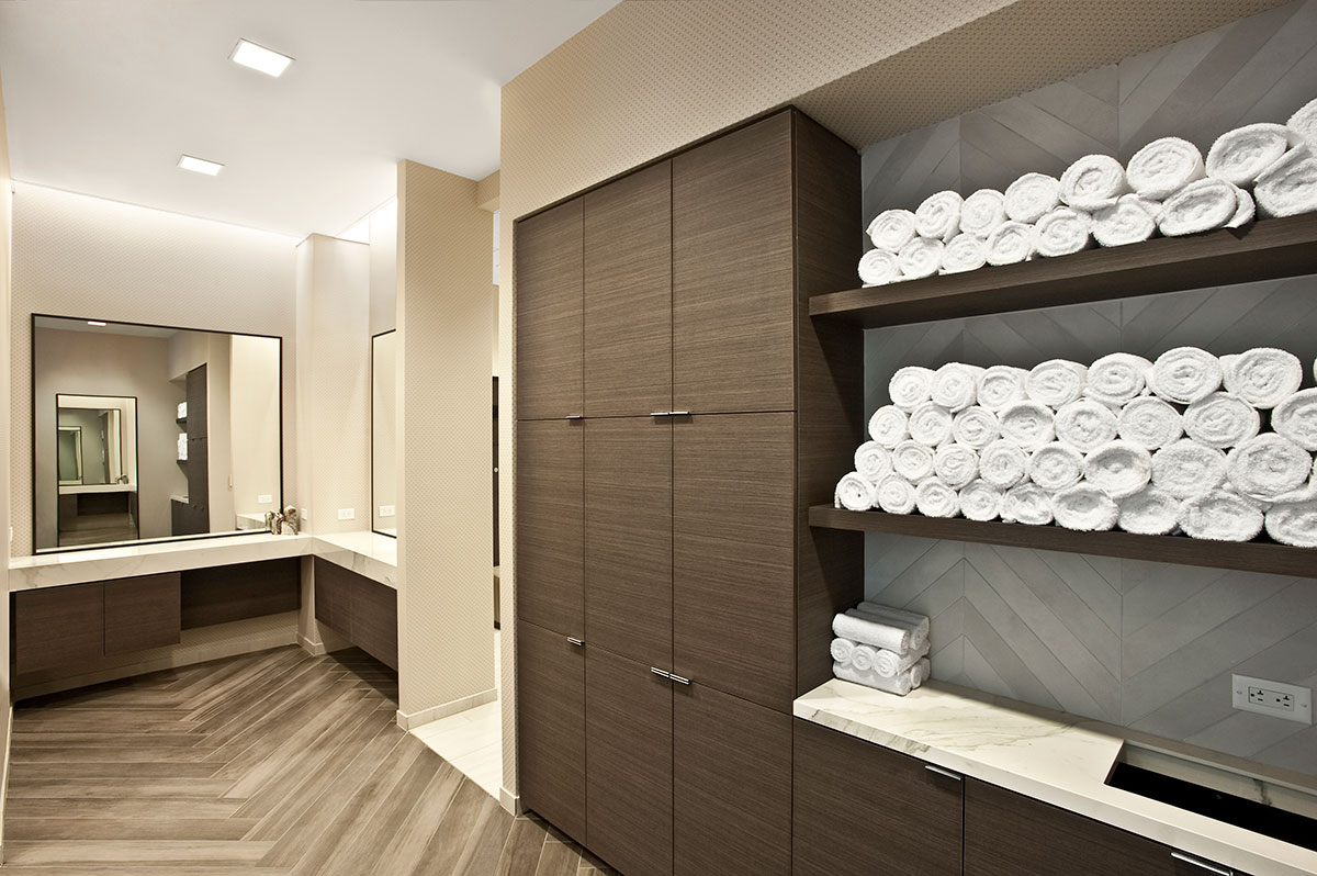 Corporate Interior Design Fitness Center Newfield Fitness Center Locker Room Towel Storage