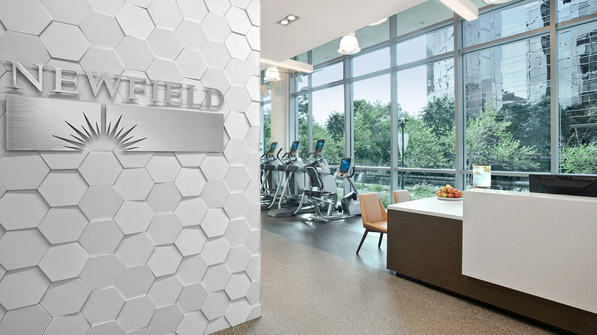 Corporate Interior Design Fitness Center Newfield Fitness Center Reception Hexagon Wall Tile