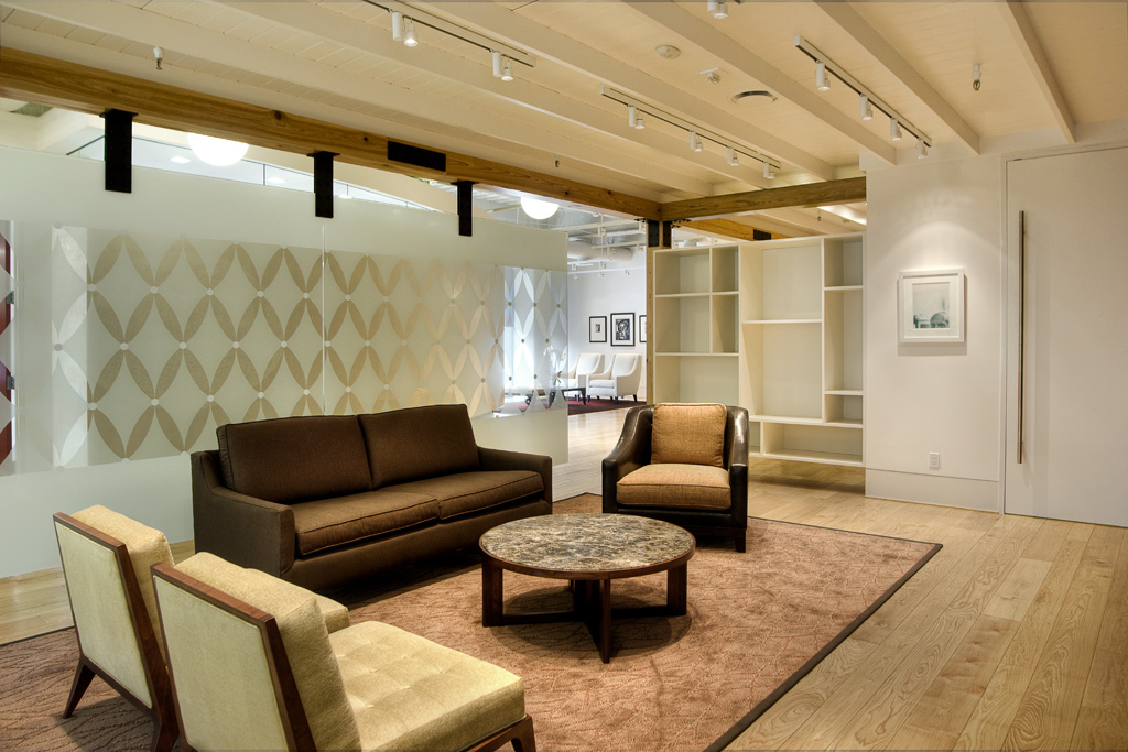 Non-Profit Corporate Interior Design HoustonCozy Lobby Seating Cypress Wood Beams Persian Rug