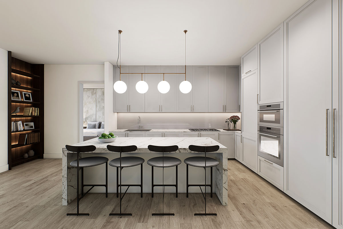 Mixed use development luxury condominiums kitchen