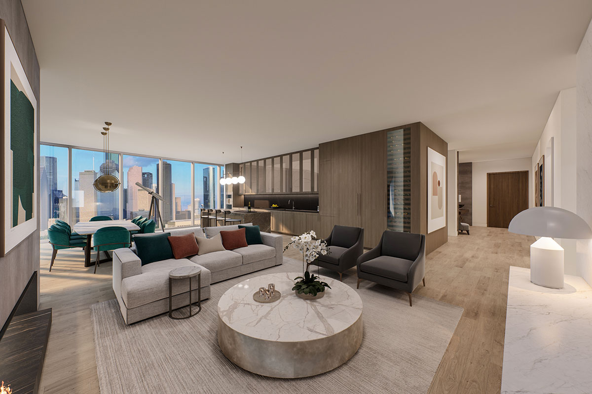 Mixed use development luxury condominiums Living and Dining Room with downtown view rendering