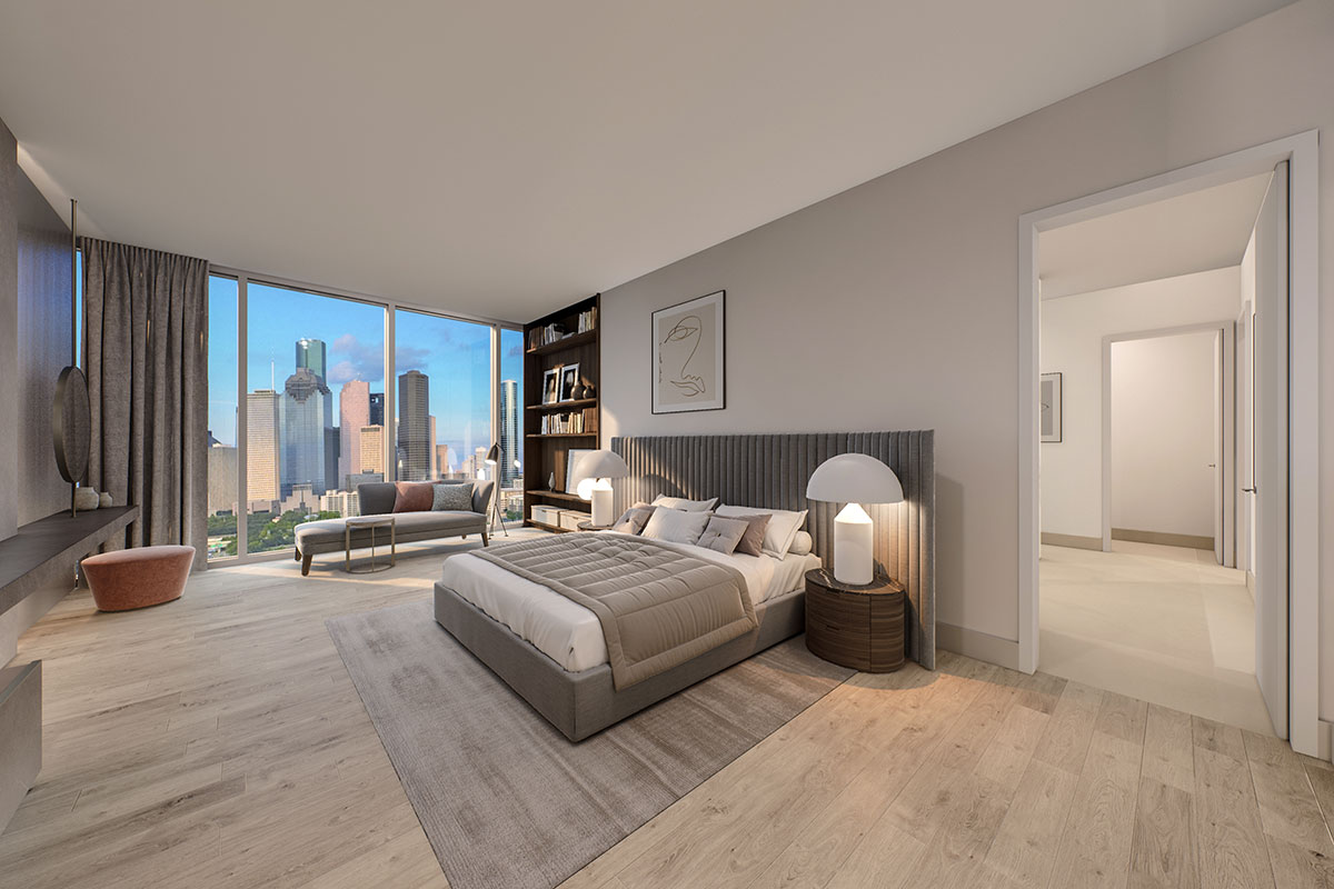Mixed use development luxury condominiums Master Bedroom rendering