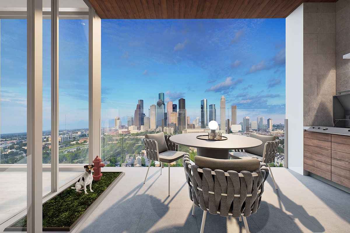 Mixed use development luxury condominiums patio outdoor kitchen with downtown view rendering