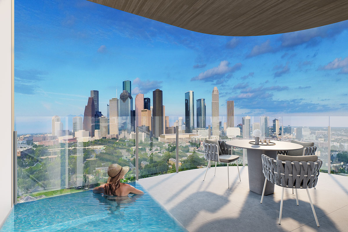 Mixed use development luxury condominiums patio plunge poo with downtown view rendering