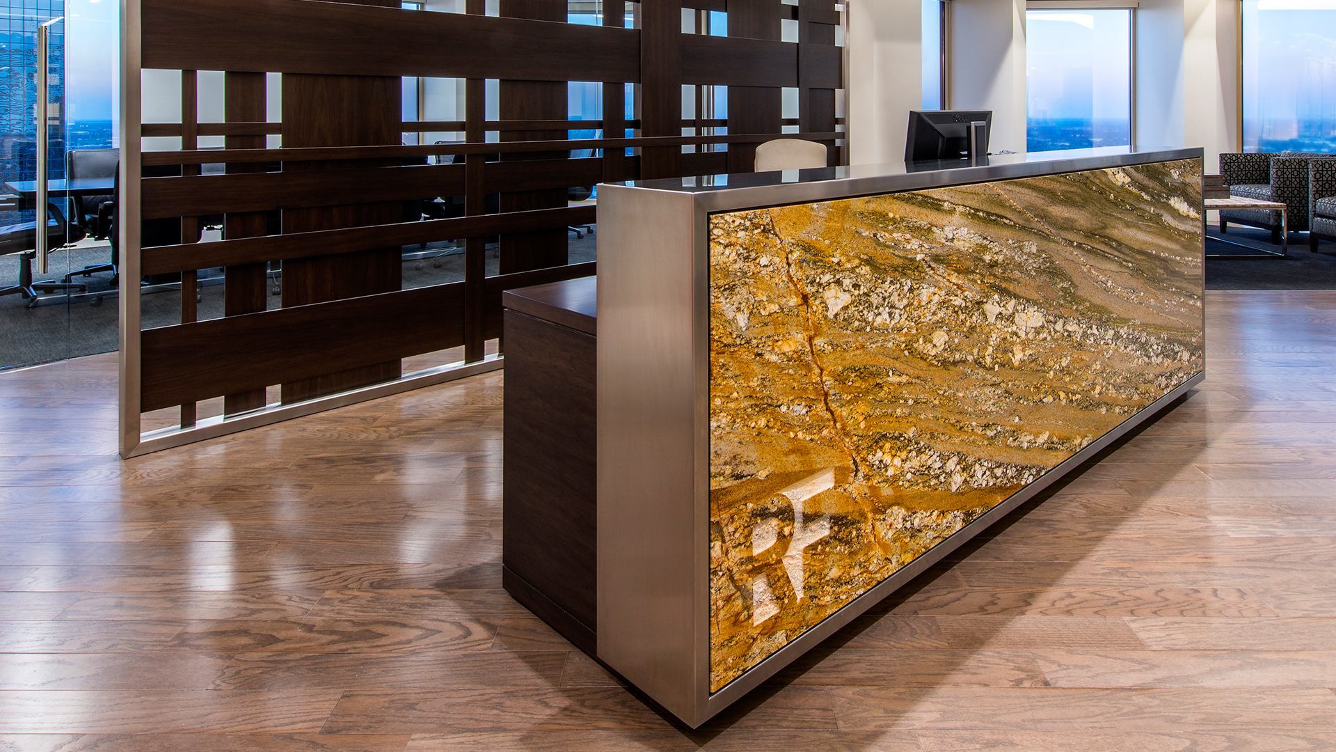 LawFirm Interior Design Reynolds Frizzell Houston Onyx Reception Desk