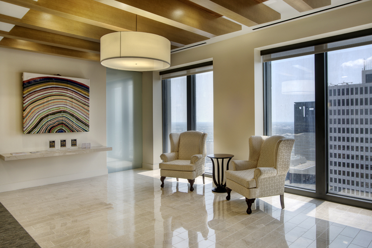 Corporate Law Interior Design Houston Steele Sturm Lobby Seating Waiting Area Downtown Views