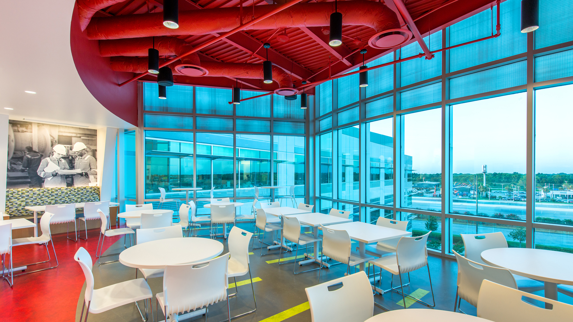 Corporate Interior Design Houston Subsea 7 Breakroom Dining Area Views Colorful