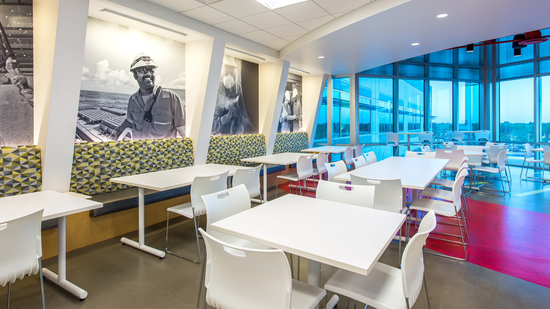Corporate Interior Design Houston Subsea 7 Breakroom Banquettes and Dining Tables