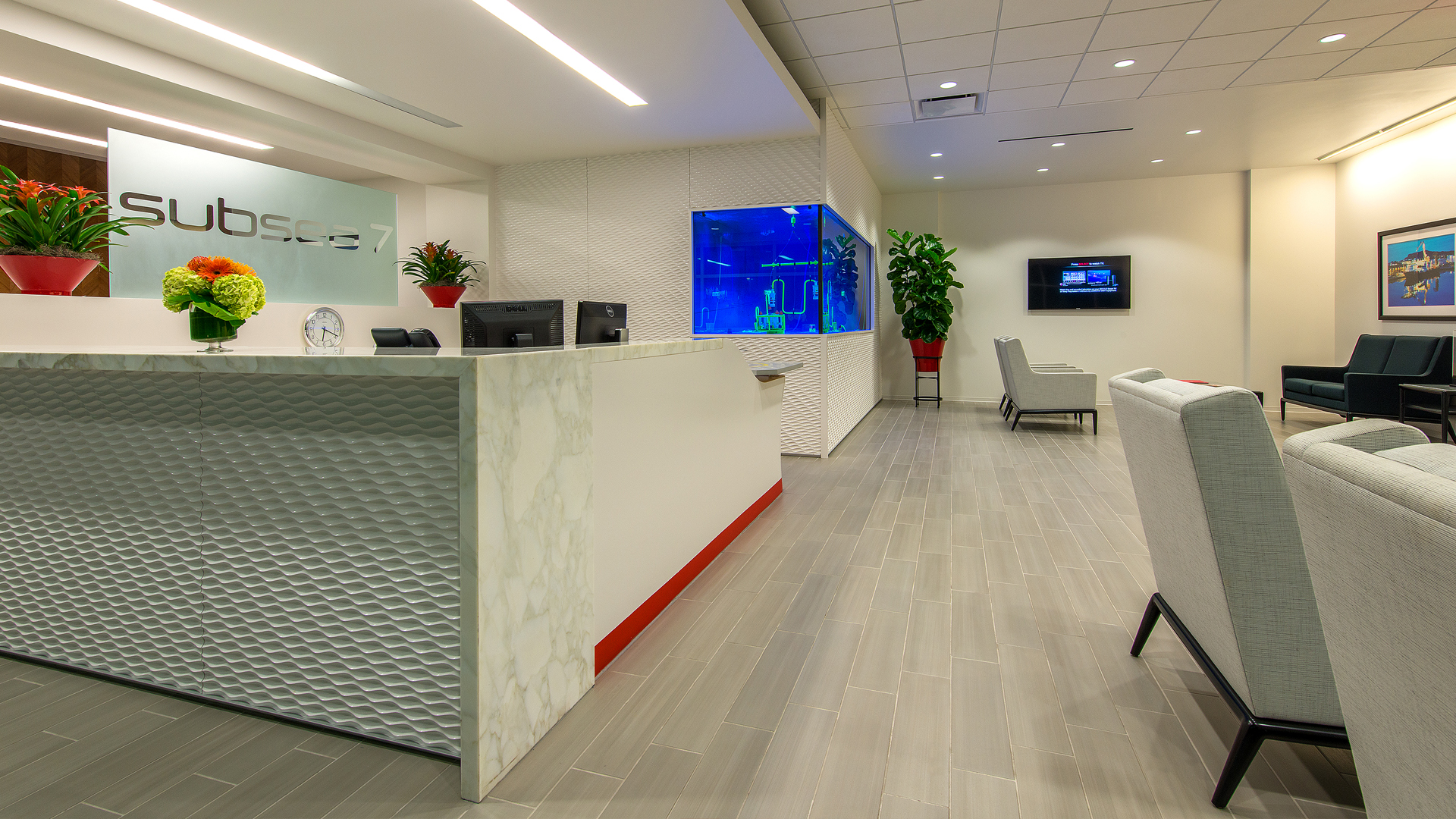 Corporate Interior Design Houston Subsea 7 Reception Lobby Aquatic theme