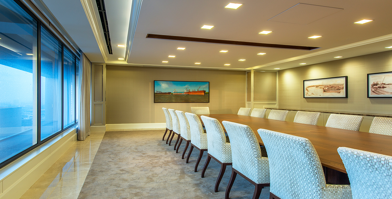 Corporate Interior Design Superior Energy Services Traditional Elegant Conference Room Upholstered Chairs