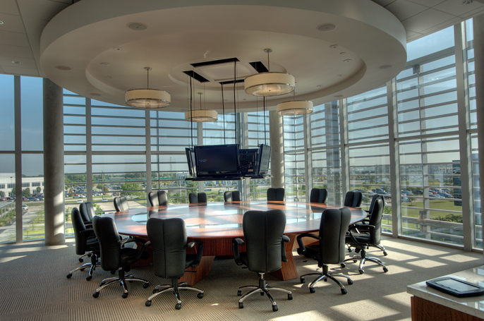 Corporate Interior Design Superior Energy Services Houston Conference Room Circular Sapele Veneer Table