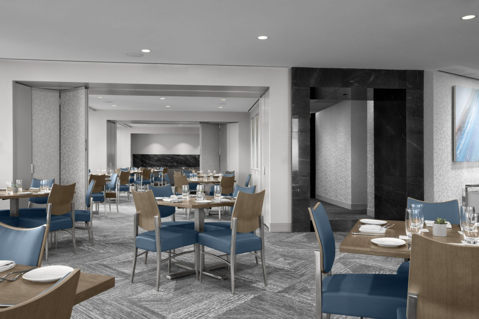 Corporate Hospitality Interior Design Restaurant Houston Strato550 Tables for four Gray Blue