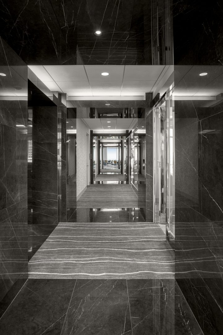Corporate Hospitality Interior Design Restaurant Houston Strato550 Black Elevator Lobby Black Polished Marble