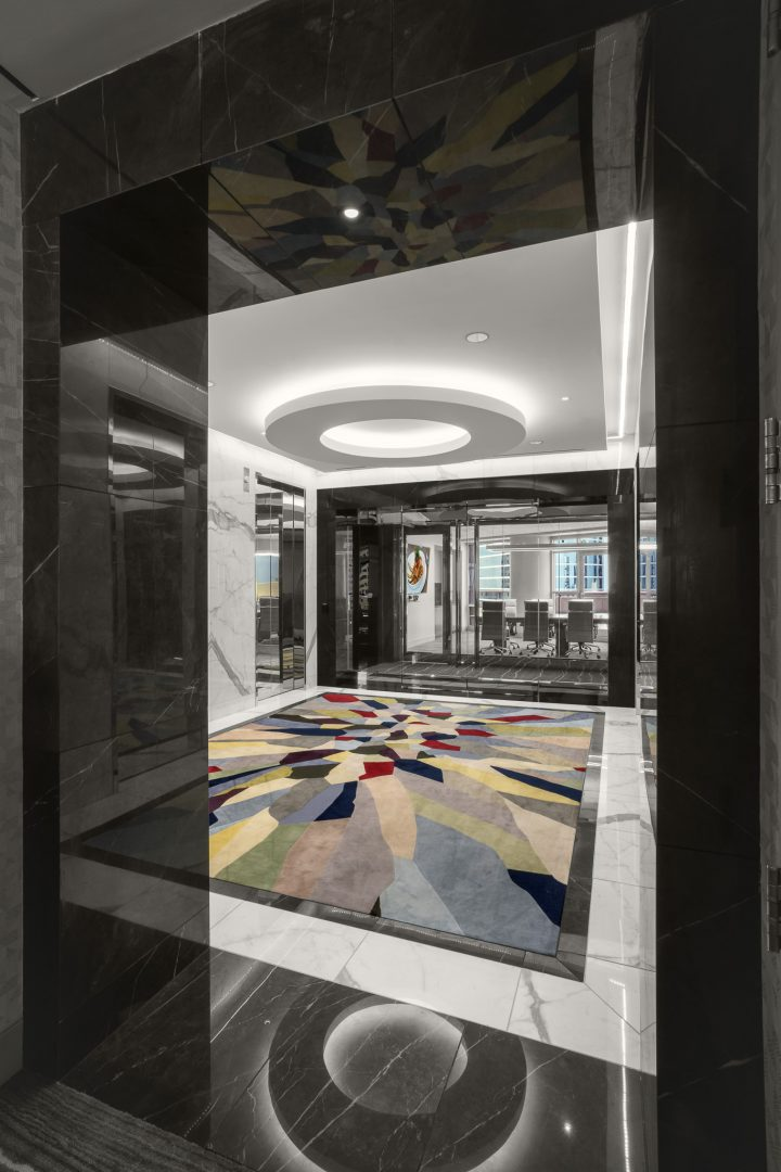 Corporate Hospitality Interior Design Restaurant Houston Strato550 Conference Room Views Elevators Entrance Rug Circular Light Fixture