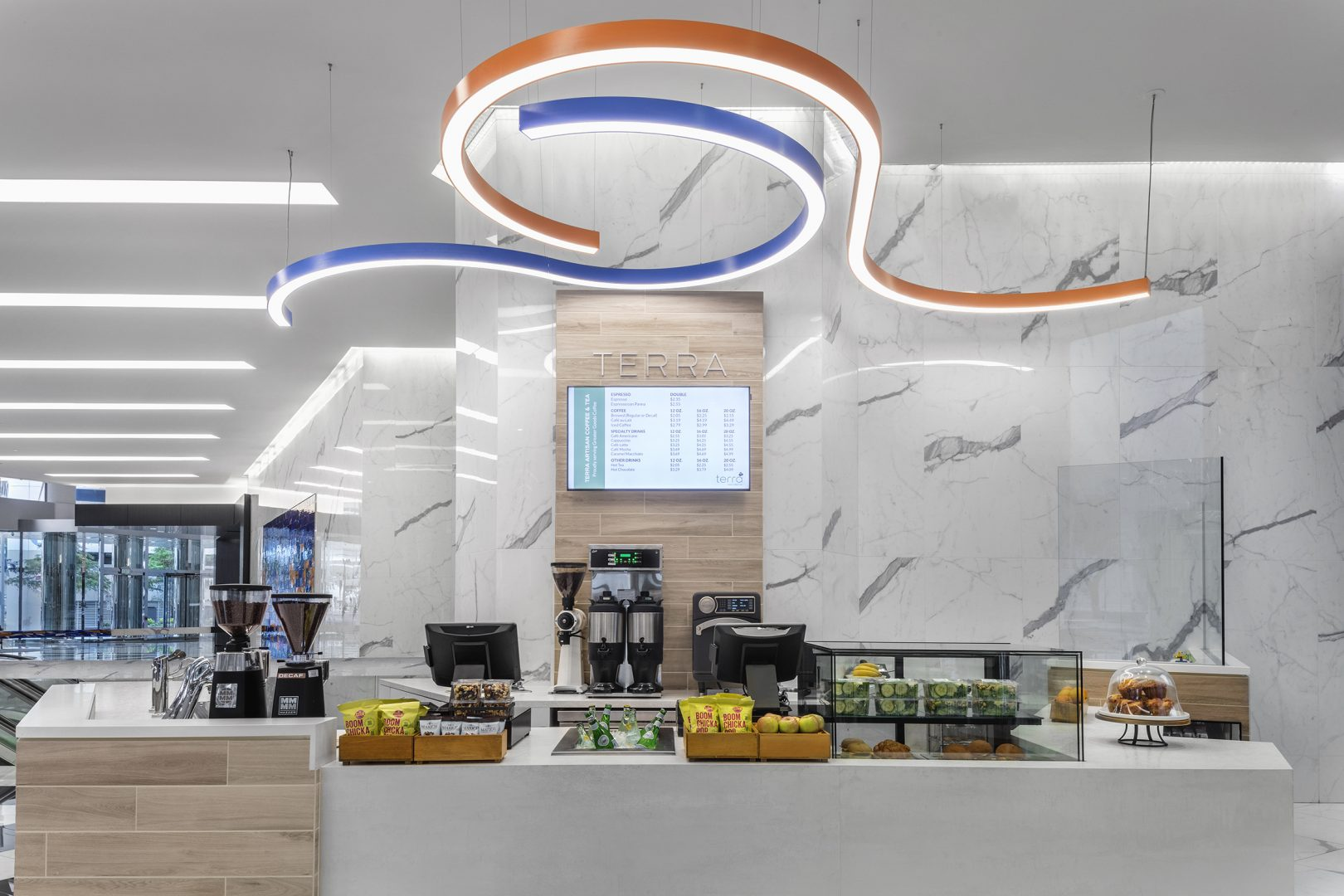 Restaurant Interior Design Coffee Shop Terra Coffee Houston Service Counter Curved Lighting
