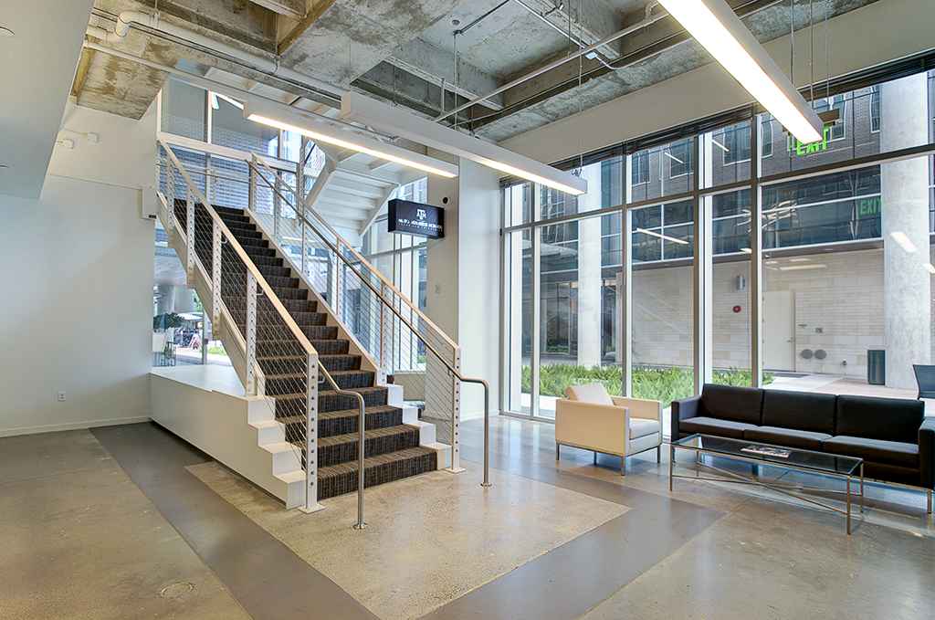 Higher Education Interior Design Texas A&M Mays Business School Reception Lobby Seating Internal Staircase